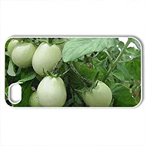 Green Tomatoes at the greenhouse - Case Cover for iPhone 4 and 4s (Fields Series, Watercolor style, White)