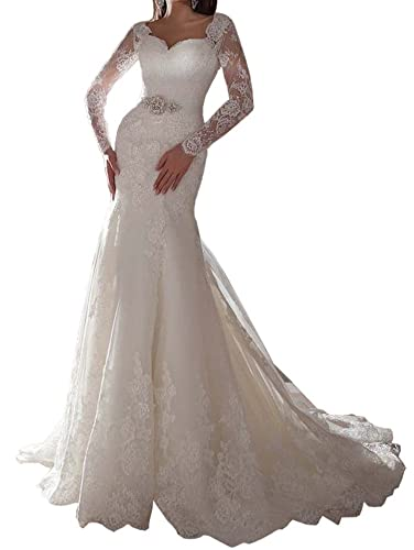 Lovelybride Exquisite Appliques Lace Long Sleeve Mermaid Wedding Dress for Bride