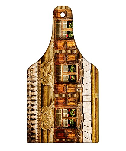 (Lunarable Shutters Cutting Board, Traditional Russian Wooden Building with Three Windows in Veliky Novgorod Picture, Decorative Tempered Glass Cutting and Serving Board, Wine Bottle Shape, Brown Green)