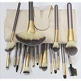 Grandey18 Pieces of Makeup Brushes Set with Beige Colour Design Holder Bag