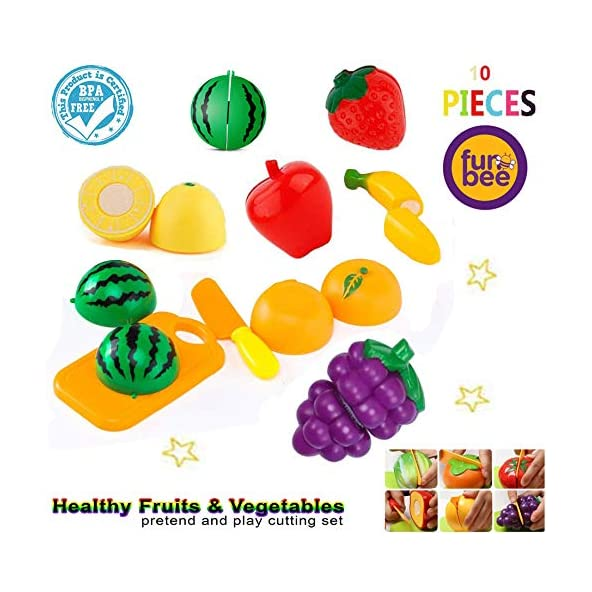 Baybee Fruit and Vegetables Play Kitchen Food for Pretend Cutting Food Toys – Educational Playset ,Cutting Board | Cutting Fruits and Vegetables Toys | Cutting Fruits Toys for Kids