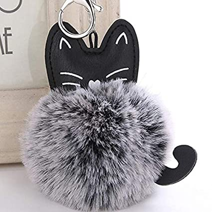lotuwio Fluffy Cat Llavero Pompom Variable Color Falso ...