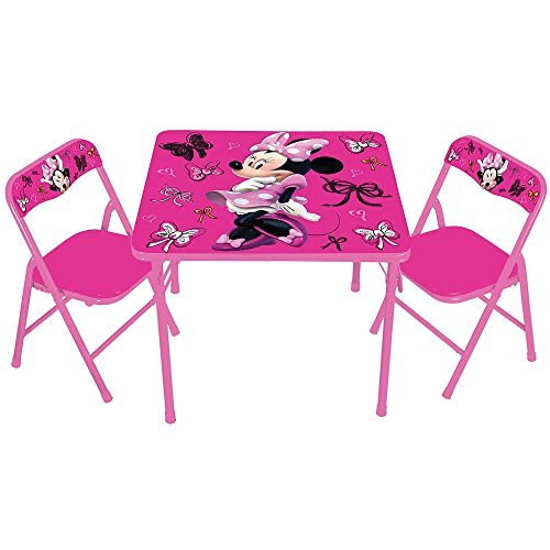Disney Minnie Mouse First Fashionista Kids Furniture Activity Table Set with Chairs (Table Fashionista)
