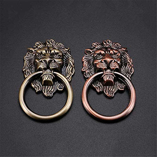 Lion Head Small Single Handle Beast Door Knocker Accessories Cabinet Door Chinese Furniture Antique Pull Hand Bronze Knobs RED BRONEZE Single Hole-S
