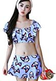 3PCS Cat Retro Bikini Top Skirted Bottom Cover Up Off The Shoulder Crop Blouse Blue M