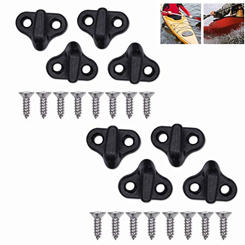 Wbestexercises Kayak Lashing Hooks, 8pcs Double Hole J Shape Hooks Nylon Bungee Hooks Replacement with Flat-Head Screws for Kayak Canoe Boats Paddle Board Black