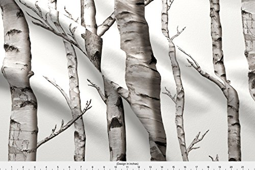 Grey Custom Fabric (Spoonflower Birch Grove Fabric and Warm Grey and Linen Texture White by willowlanetextiles - Custom Fabric Printed on Basic Cotton Ultra Fabric by The Yard)