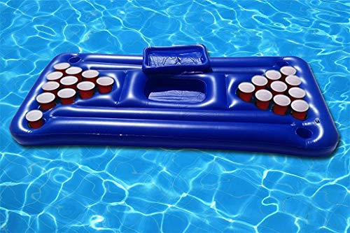 Transser Inflatable Pool Party Barge Floating Beer Pong Float with Cooler, Floating Beer Pong Table Pool Party Game Raft and Lounge (Blue)