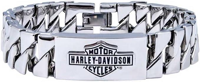 Harley-Davidson Men/'s Bike Chain Bar /& Shield Bracelet Stainless Steel HSB0207