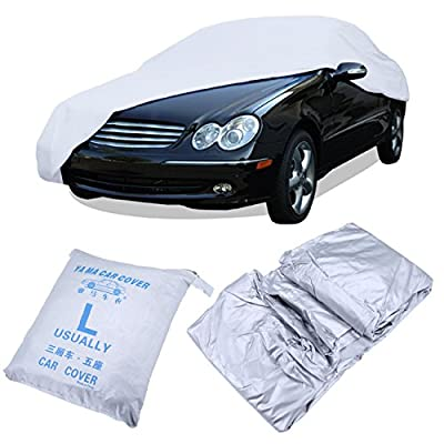 Iglobalbuy Dust Waterproof Sun UV Snow Resistant Auto Car Cover Single Layer Silver 191 x 75 x 56 Inch L Size