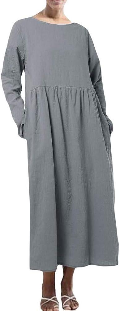 Vectry Vestido De Fiesta Mujer Manga Larga Vestidos Verano Mujer Tallas Grandes Batas Sexy Mujer Tallas Grandes Vestidos Boda Mujer Elegantes Camiseta Manga Larga Negra Mujer Vestidos Gris: Amazon.es: Ropa y accesorios