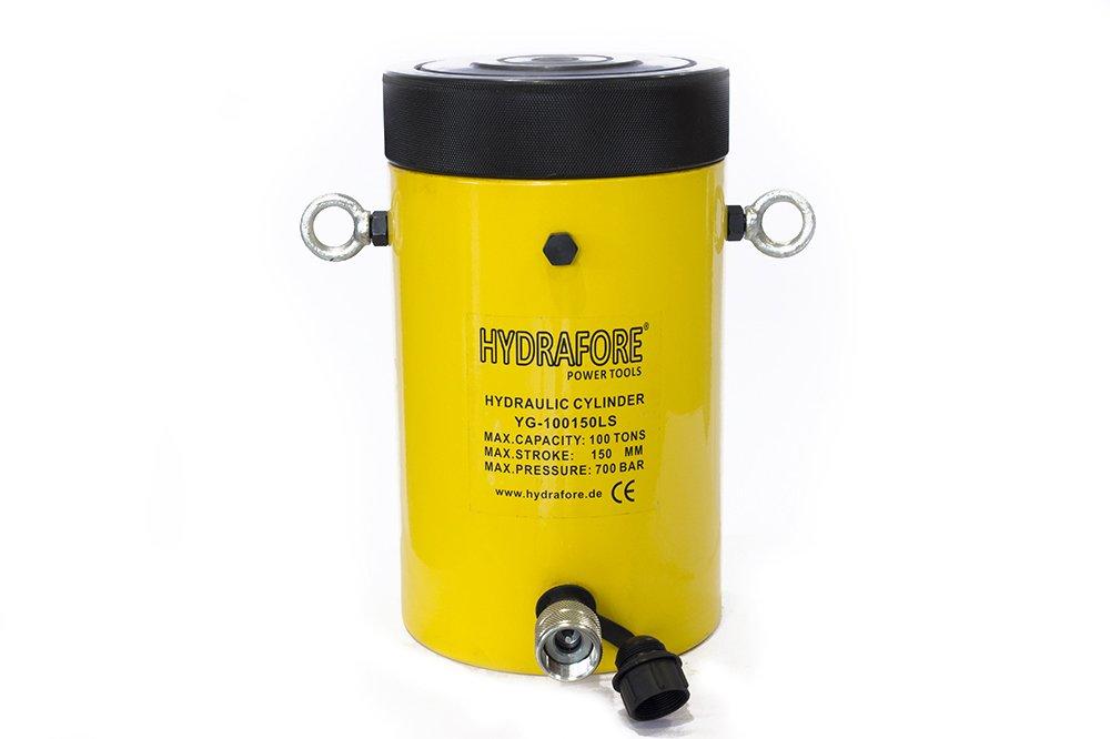 100 tons 6'' stroke Hydraulic Cylinder with Lock Nut Lifting Jack Ram YG-100150LS
