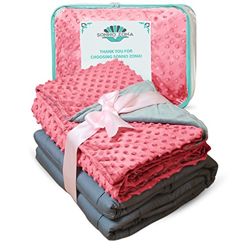 Weighted Blanket Adult Size-For Heavy Stress Relief, Autism, Restless Leg Syndrome & natural calm for anxiety - Rose 48x72