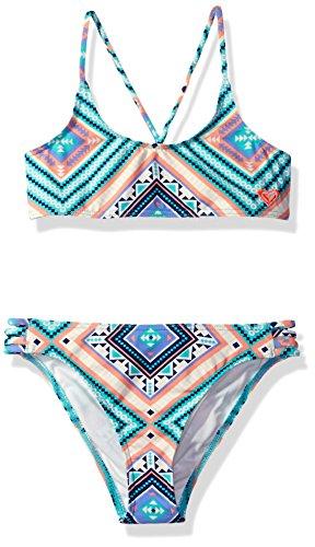 Hippie Piece 2 Girl (Roxy Big Girls' Hippie College Athletic Set Two Piece Swimsuit, Pool Blue Free Spirit, 14)