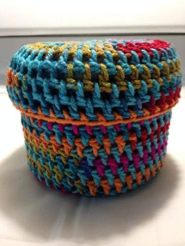 Toilet Paper Cover round multi colored bathroom crochet handmade