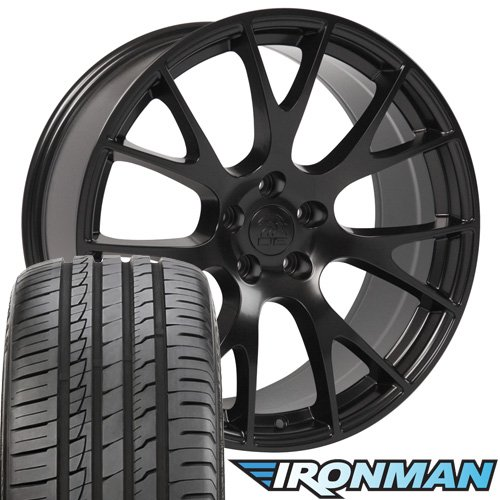 OE Wheels 20 Inch Fit Dodge Challenger Charger SRT8 Magnum Chrysler 300 SRT8 DG15 Hellcat Style Black 20x9 Rims Hollander 2528 Ironman iMove Gen2 Tires and TPMS SET Dodge Charger Srt8 Wheels