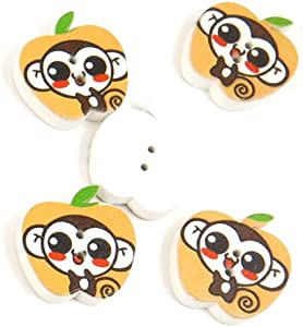 500 Pieces Sewing Sew On Buttons BT20227 Little Monkey Apple Shape Wooden Wood Arts Crafts Notions Supplies Fasteners