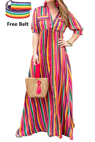 Rainbow Womens Belt Dresses Clothing (LAMISSCHE Womens Rainbow Button Down Roll up Sleeve Stripes Maxi Dress with Pockets(Rainbow,XL))