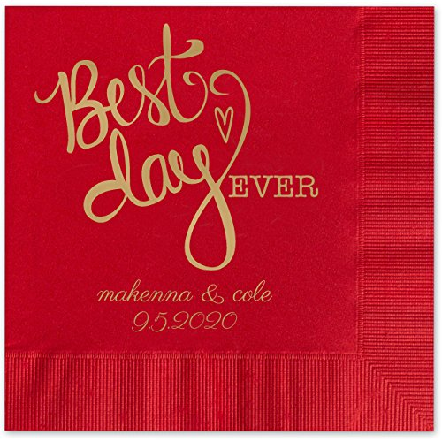 Best Day Ever Heart Personalized Beverage Cocktail Napkins - 100 Custom Printed Red Paper Napkins with choice of foil