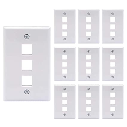 [UL Listed] VCE 10 Pack 3-Port Keystone Wall Plate for Keystone Jack and  Modular Inserts- White