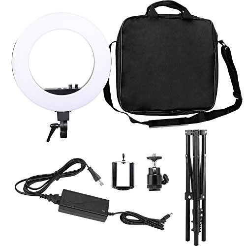 Zomei 18-inch LED Ring Light 50W 3200-5500K While Color and Orange Color changing directly Lighting Kit with Tripod Stand Ball Head and Phone Adapter for Camera Smartphone Youtube Video Shooting by ZOMEI