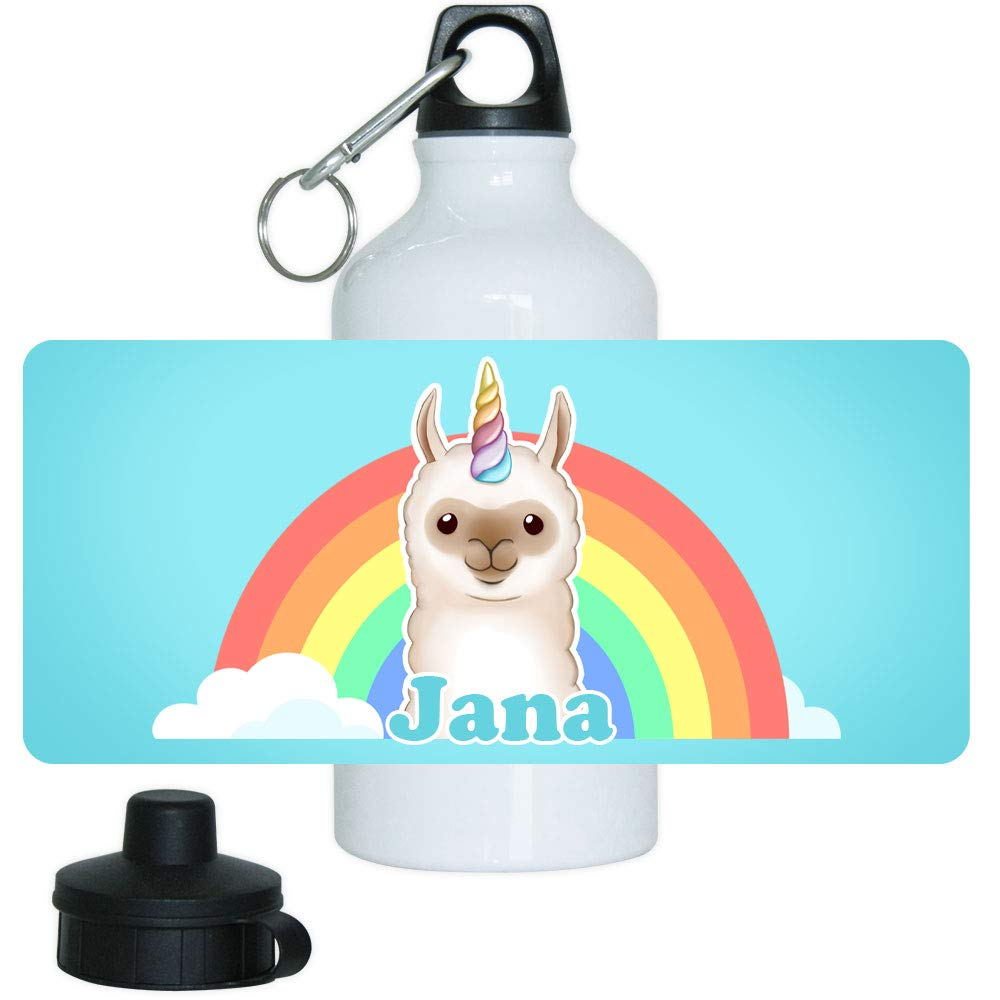 Eurofoto Trinkflasche mit Namen Jana und Motiv mit Lama-Einhorn für Mädchen   Motiv-Trinkflasche   Kinder-Aluflasche
