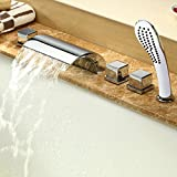 Hiendure™contemporary Waterfall Tub Faucet with Hand Shower Five Holes Bathtub Mixer - Chrome Finish