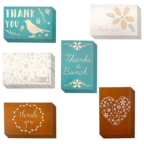 Set of 48 Spring Thank You Postcards Floral Print Variety Pack Garden Flower Botanical Theme Self Mailer Mailing Side Postcards 6 Different Designs 48 Pack Postage Saver - 4 x 6 Inches