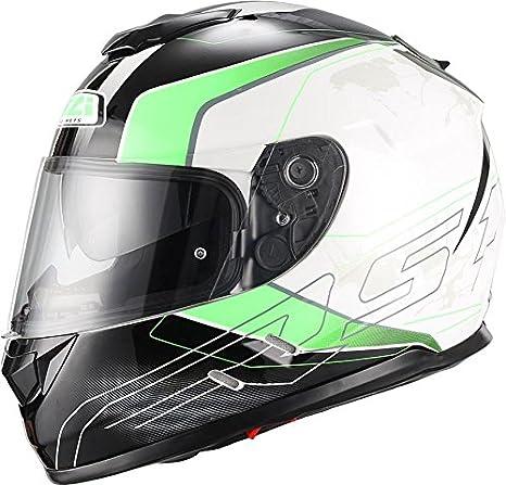 NZI Symbio Duo Graphics Casco De Moto(Aresone Blanco Verde,Medio)