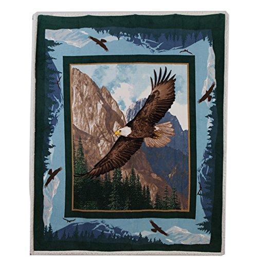 Best Token Soft Warm Throw Blanket Fleece Sherpa Air Quilt Bedding for Bed, 50-by-60-Inch - Eagle Pattern (Fleece Quilt Sherpa)
