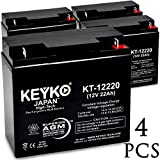 KEYKO Genuine KT-12220 12V 22Ah Battery SLA Sealed Lead Acid / AGM Replacement - Nut & Bolt Terminal - 4 Pack