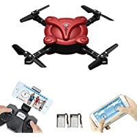 LAMASTON Foldable Mini Drone with Camera, 2.4G Remote Control Helicopter FPV Drones for Kids and Adult with APP Control,Headless Mode, Altitude Hold and Gravity Sensor (Red)
