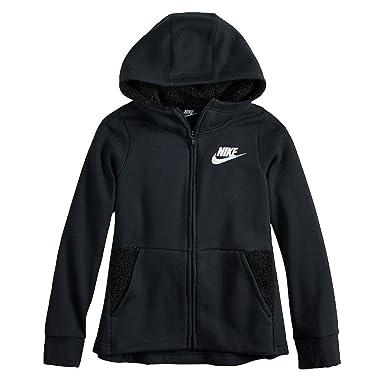 best online special sales sold worldwide Amazon.com: Nike Girl`s Full Zip Sherpa Hoodie (Black(AV8422 ...