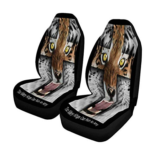 INTERESTPRINT Tiger Collage on Black Color Abstract Background Car Seat Cover Front Seats Only Full Set of 2, Bucket Seat Protector Car Seat Cushions for Car, SUV, Truck or Van
