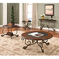 Rosemont Scrolled Base Cocktail Table w Black Inlaid Top