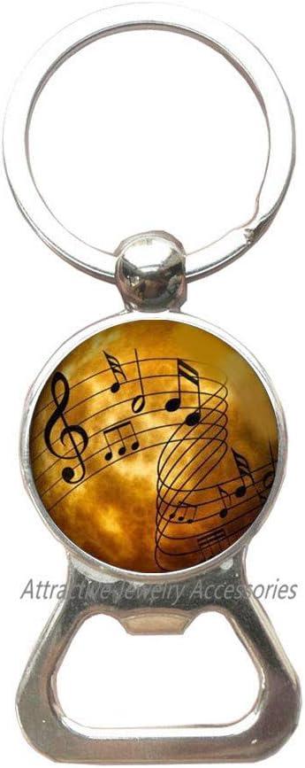 Music Notes Bottle Opener Keychain, Music Symbols, Sheet music, Music Student Gift, Piano Music, Photo image jewelry,QK0O155