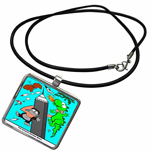 3dRose Londons Times Star Wars and Star Trek Cartoons - The Empire Building Strikes Back - Necklace with Rectangle Pendant (ncl_1635_1)