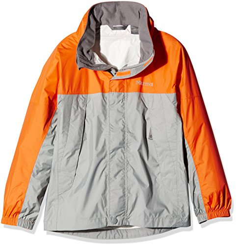 Marmot PreCip Jacket for Boys (LG (10/12 Big Kids), Grey Storm/Bright Orange)