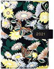 NUOBESTY Schedule Notebook Hardbound Journal 2021 Daisy Diary Book College Ruled Paper Lined Paper Cute School Notebooks for Students Office Supplies