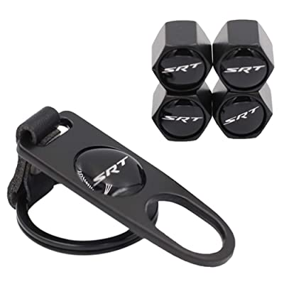 BWONE SRT Tire Valve Stem Caps(4PCS) with Wrench Keychain(1PCS) for Dodge Charger Challenger Chrysler Jeep Grand Cherokee: Automotive
