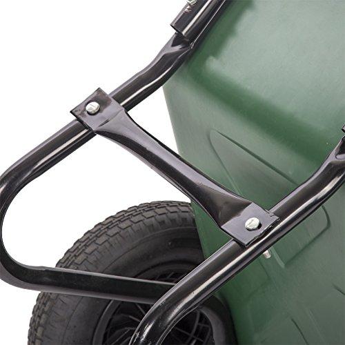 BestMassage Flat Free Yard Garden Rover Wheelbarrow,2 Tire Wheelbarrow Garden Cart by BestMassage (Image #4)