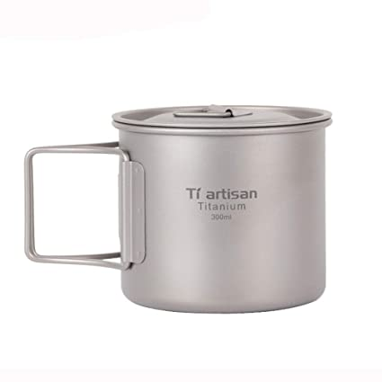 9b84d149aa9 Amazon.com: SportHome Ultralight Titanium Cup Picnic Outdoor Titanium Water  Mug with Folding Handles Drinking Camping Cups 300/350/550/650/750ML: Home  & ...