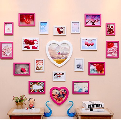 Photo frame collage Modern children's creative living room 20 frame Love-styling bedroom wedding combined photo frame (Color : White rose (white box inside)) -