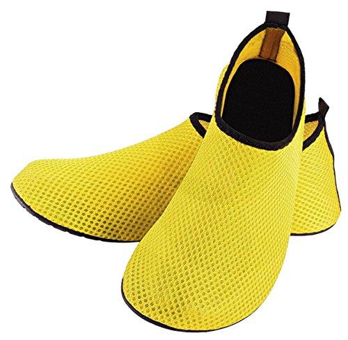 LOUECHY Unisex Feinin Mesh Schwimmen Wasser Socken Atmungs Barfuß Haut Schuhe Leichte Yoga Sandalen Indoor Fitness Schuh Schnell Trocknend Surf Wasser Schuhe Bootfahren Gelb