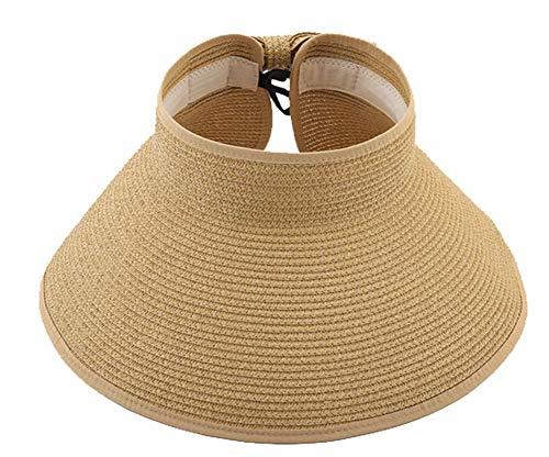 (Epsion Big Bowknot Straw Hat Floppy Foldable Roll up Beach Cap Sun Hat UPF 50+)