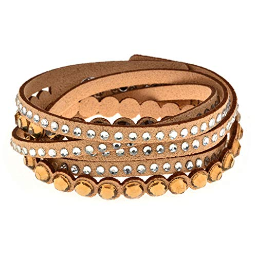 - AMBER DAVIDSON Fashion Double Wrap Velvet Leather Bracelet with Full Pave Resin Shiny Crystal Multi Layer Women Bracelet,B