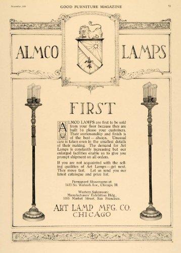 1919 Ad Art Lamp Manufacturing Almco Lighting Fixtures - Original Print Ad from PeriodPaper LLC-Collectible Original Print Archive