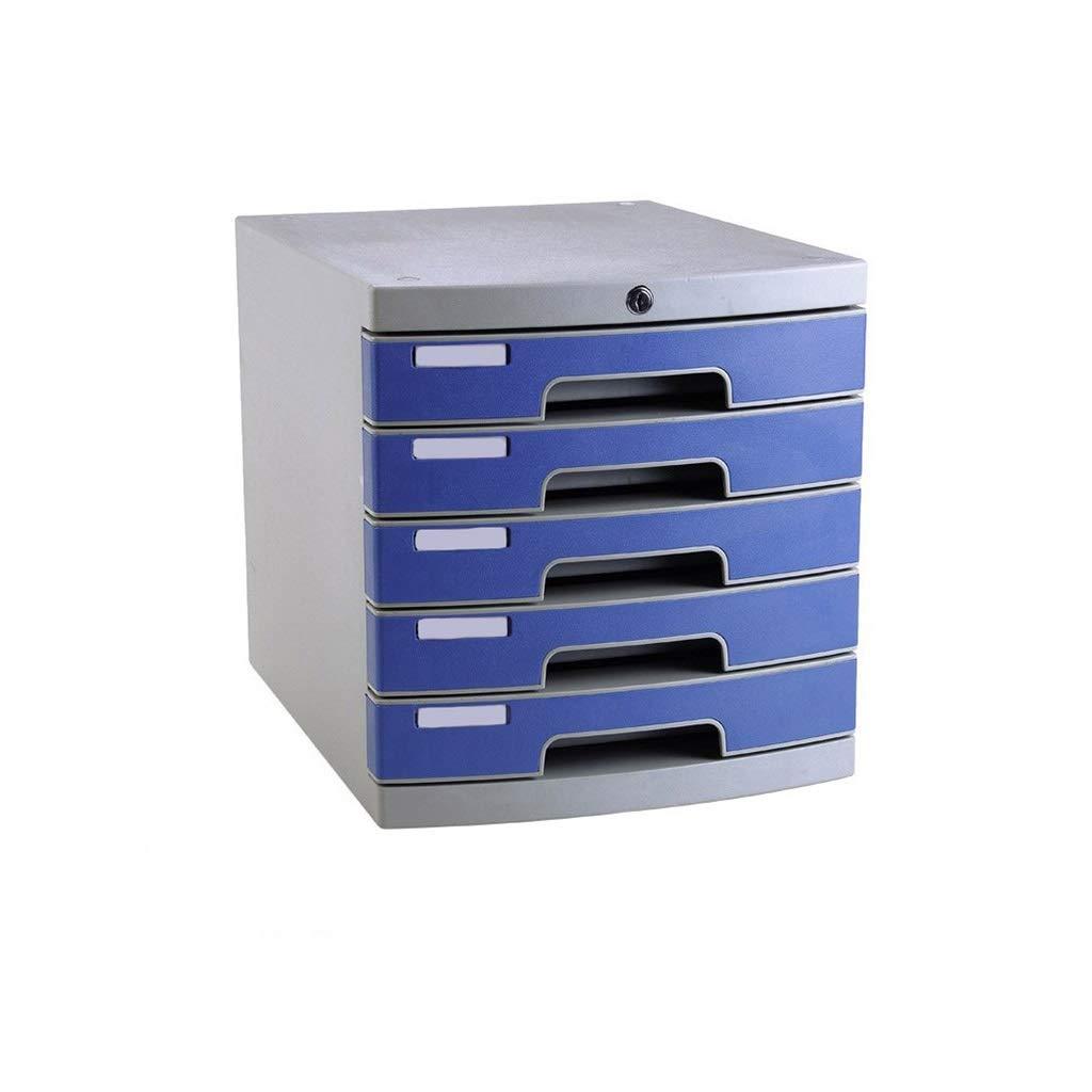 Desktop File Cabinet, Desk Storage Unit Organizer File Cabinet A4 Box for Office - Blue (Size : 5-Layer)