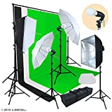Linco Lincostore Photo Video Studio Light Kit AM174 - Including 3 Color 5x10ft Backdrops (Black/White/Green) Background Screen