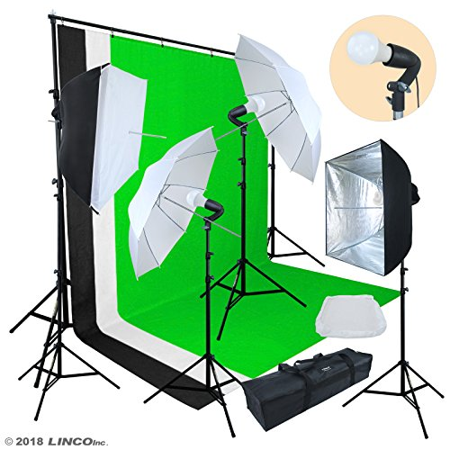 Linco Lincostore Photo Video Studio Light Kit AM174  Including 3 Color 5x10ft Backdrops Black/White/Green Background Screen